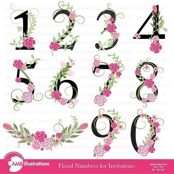 Floral Numbers Clipart  AMBillustrations    Mygrafico