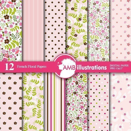 French Floral Digital Papers  AMBillustrations    Mygrafico