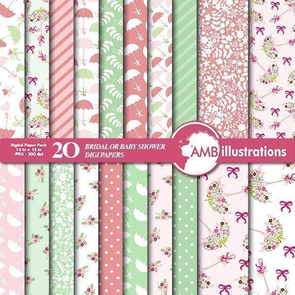 Shabby Chic shower Papers  AMBillustrations    Mygrafico