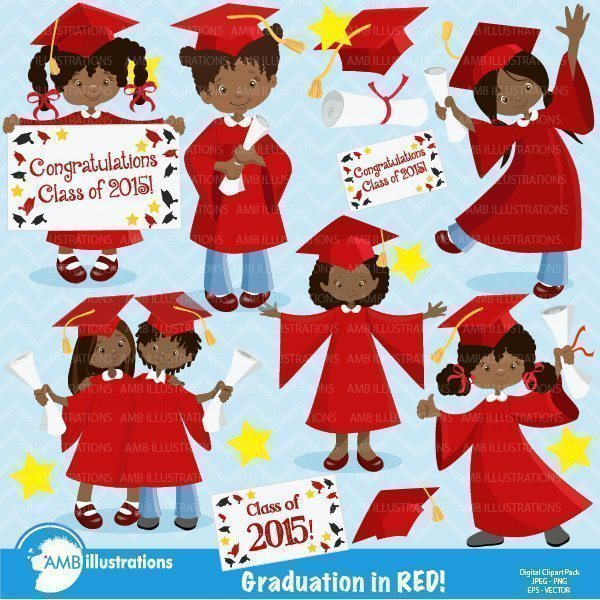 Graduation Girls in Red Clipart,  AMBillustrations    Mygrafico
