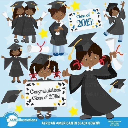 Graduation Girls in black gowns Clipart,  AMBillustrations    Mygrafico