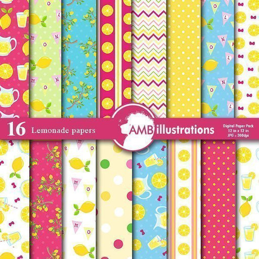 Lemonade digital papers  AMBillustrations    Mygrafico