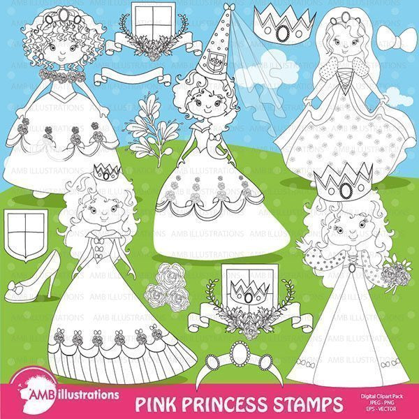 Pink Princesses Digital Stamps  AMBillustrations    Mygrafico