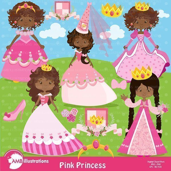 African American Princesses in pink clipart  AMBillustrations    Mygrafico