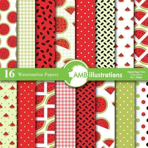 Watermelon papers, Summer papers  AMBillustrations    Mygrafico