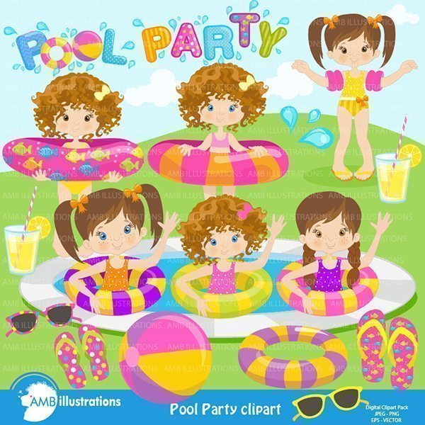 Girl's Pool Party  AMBillustrations    Mygrafico