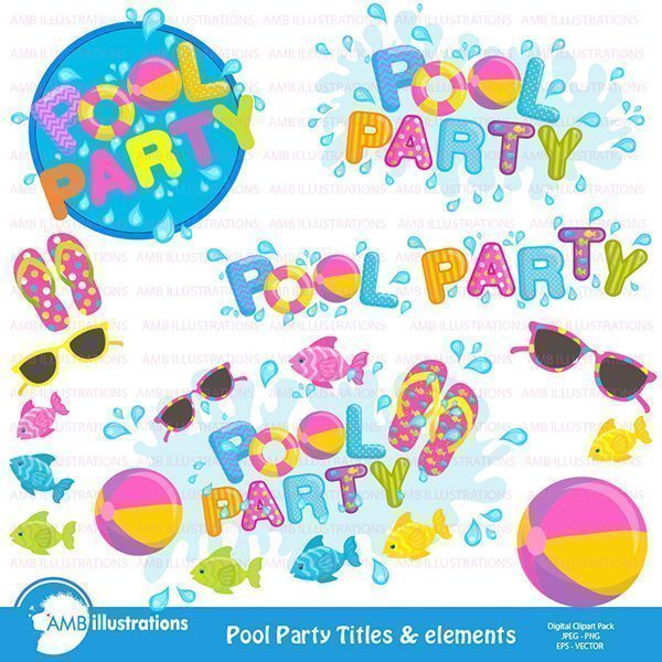 Pool Party embellishments and logo  AMBillustrations    Mygrafico