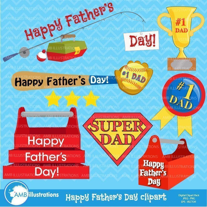 Father's Day Clipart Graphics  AMBillustrations    Mygrafico