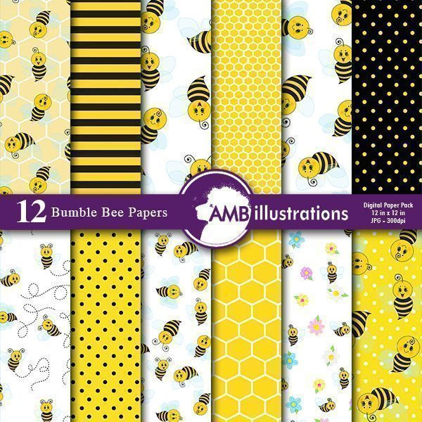 Honey bee digital Papers  AMBillustrations    Mygrafico