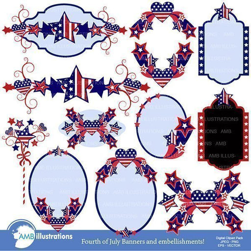Fourth of July banners embellishment clipart  AMBillustrations    Mygrafico