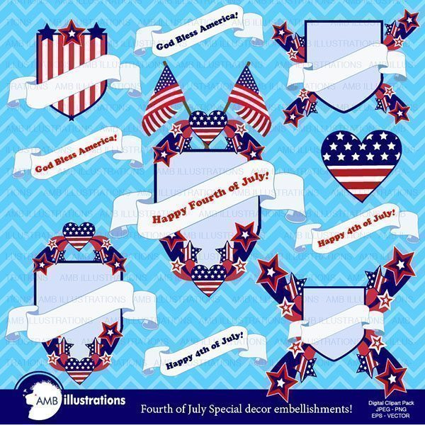 Independence day clipart  AMBillustrations    Mygrafico