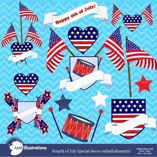 Fourth of july labels and frames  AMBillustrations    Mygrafico