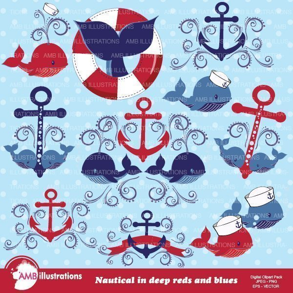 Nautical Whale Clipart  AMBillustrations    Mygrafico
