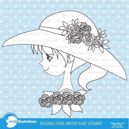 Girl with hat stamp  AMBillustrations    Mygrafico