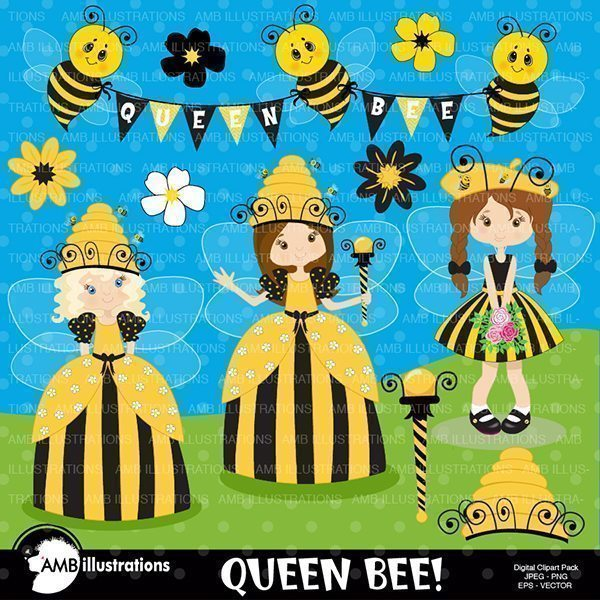 Queen bee clipart Honey bee clipart  AMBillustrations    Mygrafico