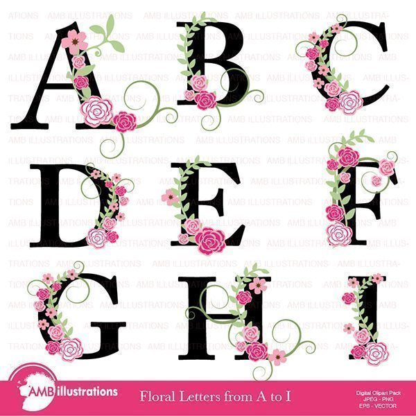 Floral Letter Clipart Pack  AMBillustrations    Mygrafico