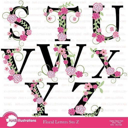 Floral Letter Clipart Pack S to Z  AMBillustrations    Mygrafico