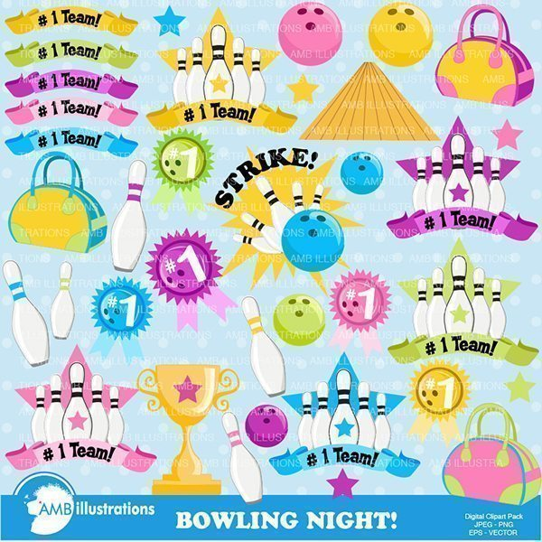 Bowling Night Clipart Pack  AMBillustrations    Mygrafico