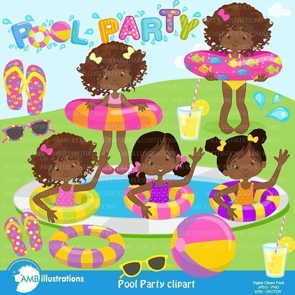 Girls Pool Party  AMBillustrations    Mygrafico