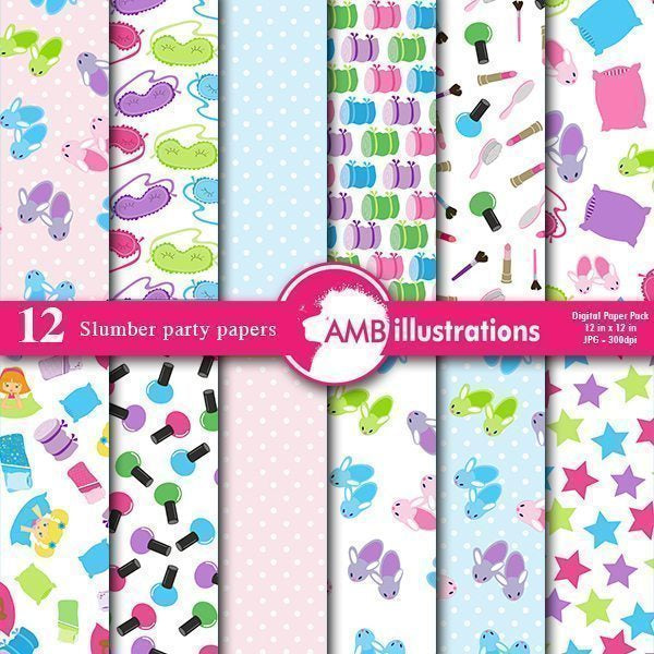 Slumber Party Paper Pack  AMBillustrations    Mygrafico