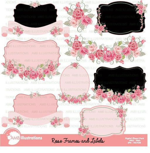 Shabby Chic Rose frames and labels  AMBillustrations    Mygrafico