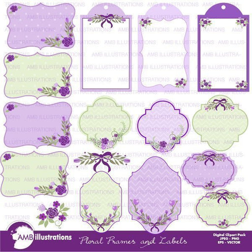 Lavender Floral Frames and Labels  AMBillustrations    Mygrafico
