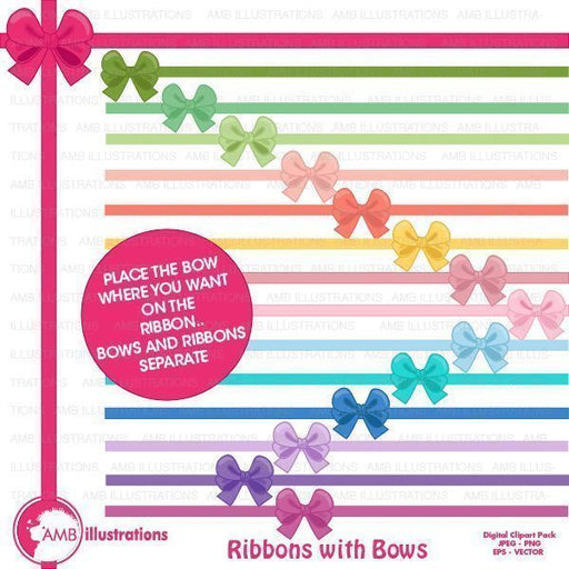 Ribbon and bow clipart  AMBillustrations    Mygrafico