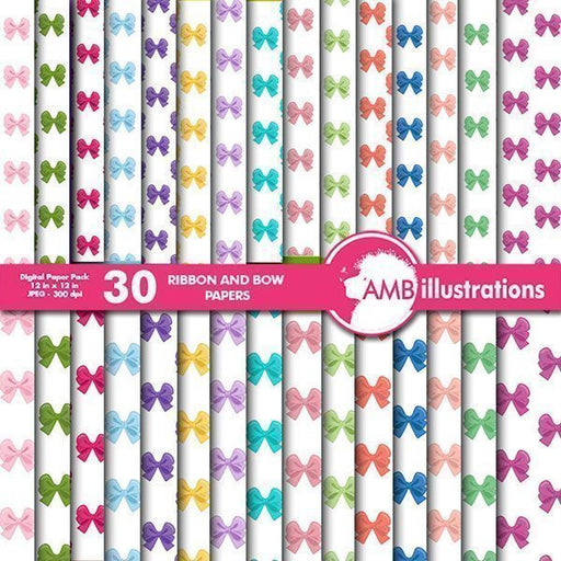 Bows and ribbons digital papers  AMBillustrations    Mygrafico