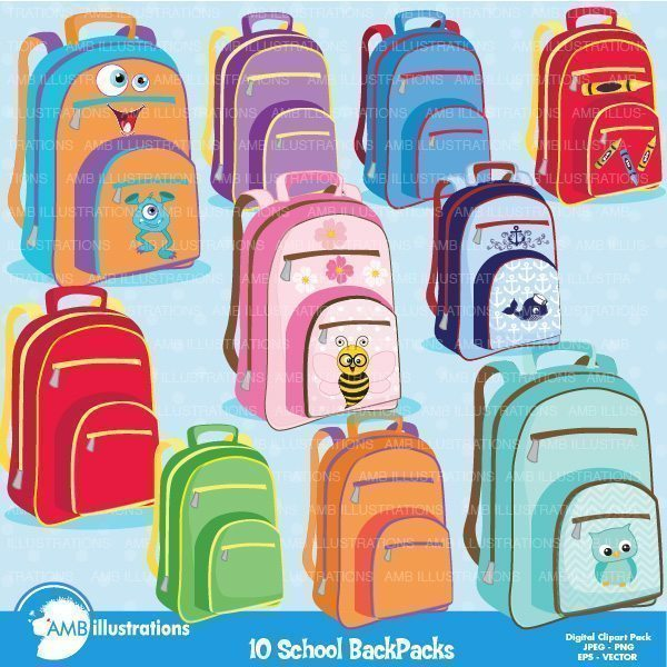School back pack, school bag clipart  AMBillustrations    Mygrafico