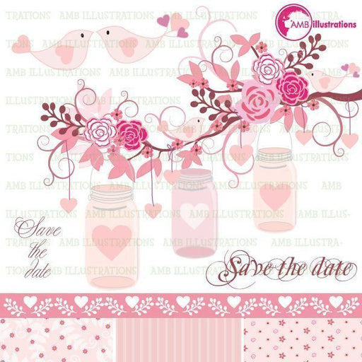 Floral wedding clipart  AMBillustrations    Mygrafico