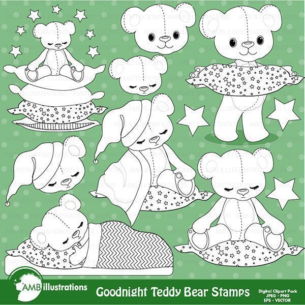 Teddy bear stamps, nursery, slumber party stamps,  AMBillustrations    Mygrafico