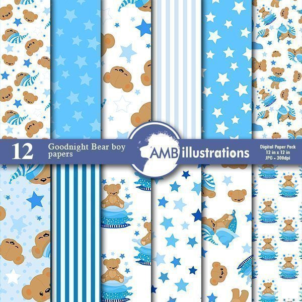 Goodnight bear digital papers, Nursery papers,  AMBillustrations    Mygrafico