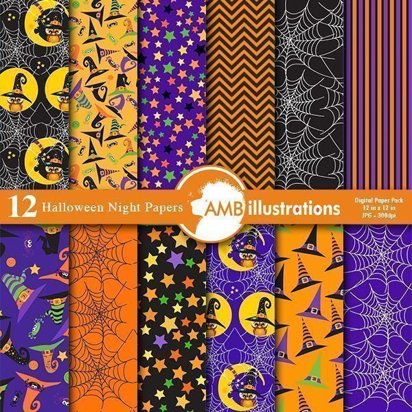 Halloween digital papers  AMBillustrations    Mygrafico