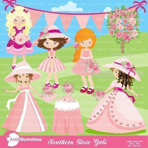 Garden Party Girls - princesses clipart  AMBillustrations    Mygrafico