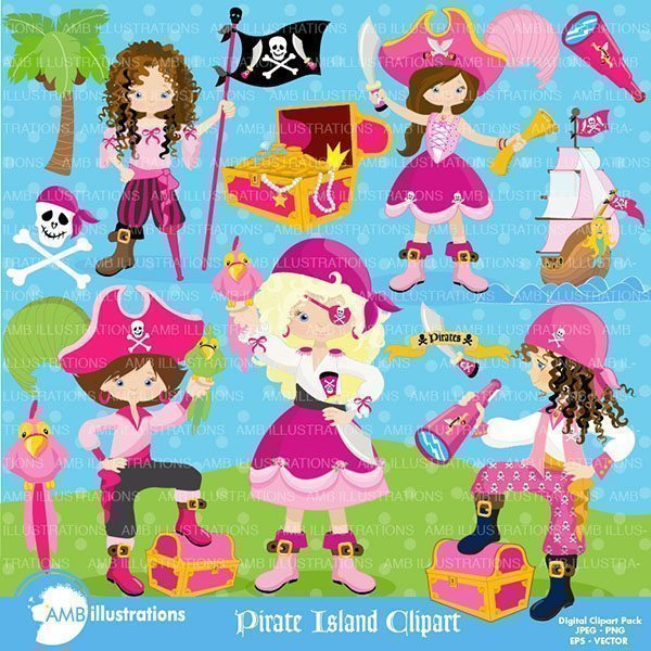 Girl Pirate Pack Cliparts AMBillustrations    Mygrafico
