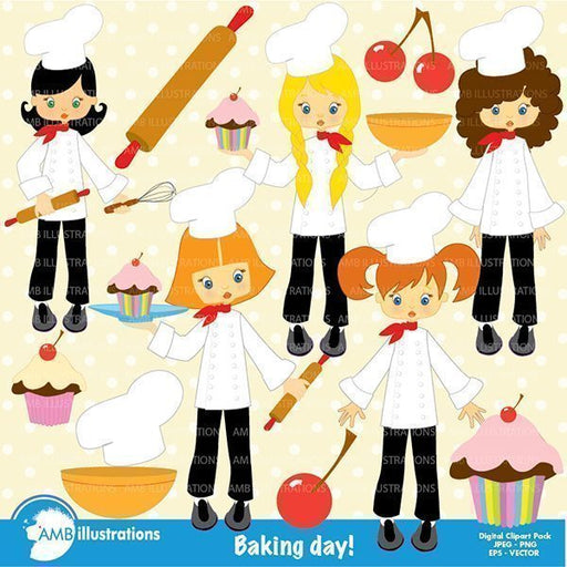 Little girl chefs in the kitchen clipart  AMBillustrations    Mygrafico