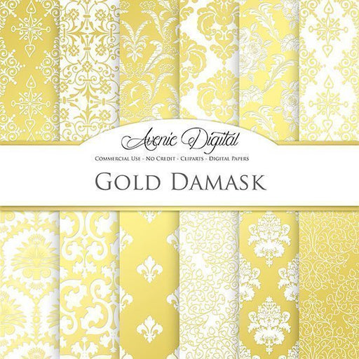 Gold Damask Digital Paper  Avenie Digital    Mygrafico