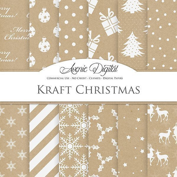 Kraft Christmas Digital Paper  Avenie Digital    Mygrafico