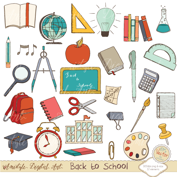 Back to School Set - Clipart & Vector Clipart Amistyle Digital Art    Mygrafico