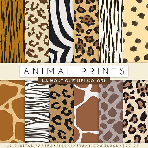 Animal Prints Digital Paper Digital Paper & Backgrounds La Boutique Dei Colori    Mygrafico