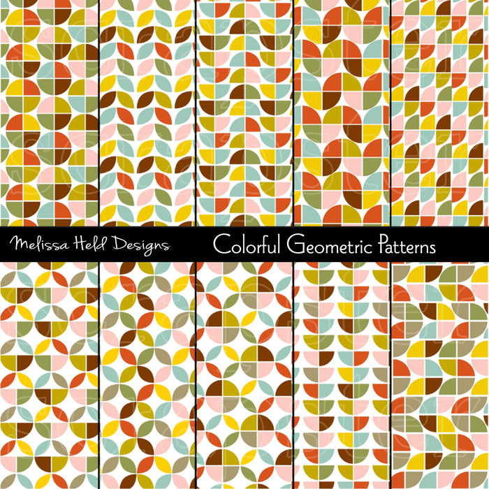 Colorful Geometric Patterns Digital Paper & Backgrounds Melissa Held Designs    Mygrafico