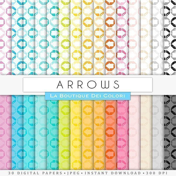 Rainbow Directional Arrow Digital Papers  La Boutique Dei Colori    Mygrafico