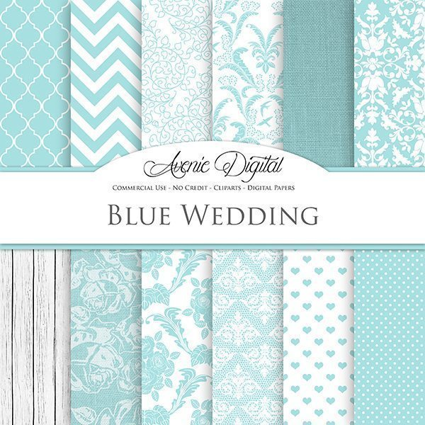 Light Blue Wedding Digital Paper  Avenie Digital    Mygrafico