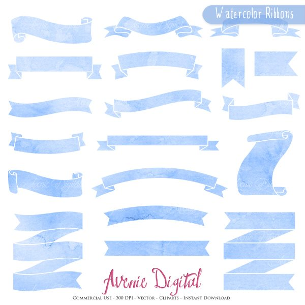 Blue Watercolor Ribbon Banner Clipart  Avenie Digital    Mygrafico