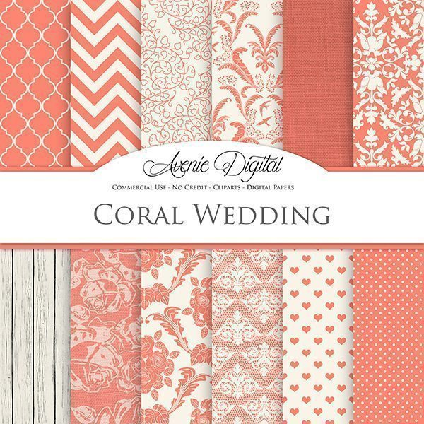 Coral Wedding Digital Paper  Avenie Digital    Mygrafico