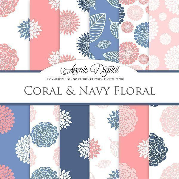 Floral Coral and Navy Digital Paper  Avenie Digital    Mygrafico