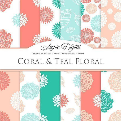 Coral Teal Floral Digital Paper Digital Papers & Backgrounds Avenie Digital    Mygrafico