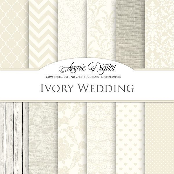 Ivory Wedding Digital Paper  Avenie Digital    Mygrafico