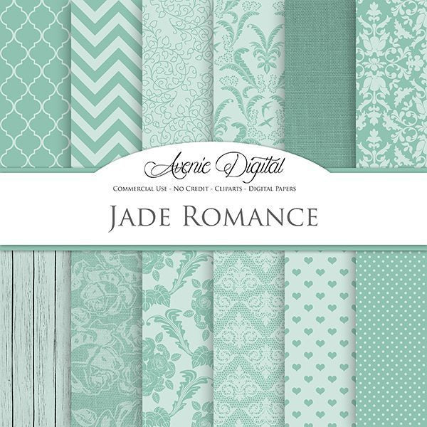 Jade Romance Wedding Digital Paper  Avenie Digital    Mygrafico