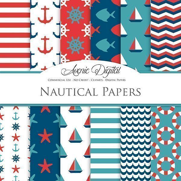 Red and Teal Nautical Digital Paper  Avenie Digital    Mygrafico